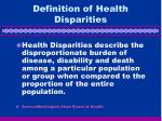 definition of health disparities