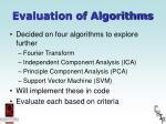 evaluation of algorithms