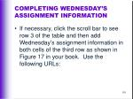 completing wednesday s assignment information