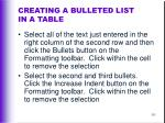 creating a bulleted list in a table