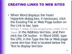 creating links to web sites114
