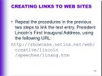 creating links to web sites115
