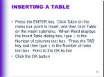inserting a table