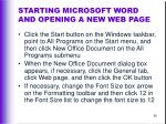 starting microsoft word and opening a new web page