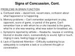 signs of concussion cont