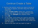 continue create a table