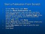 start a publication from scratch