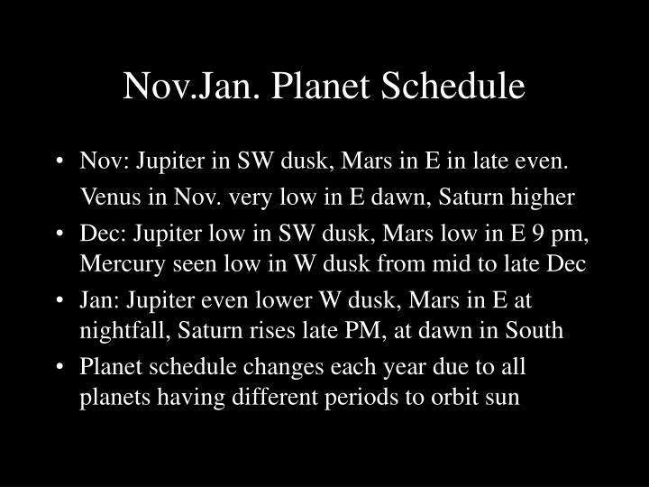 Nov.Jan. Planet Schedule