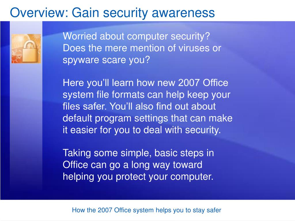 Overview: Gain security awareness