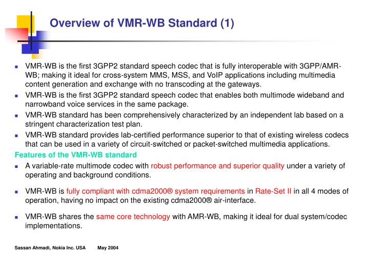 Overview of vmr wb standard 1