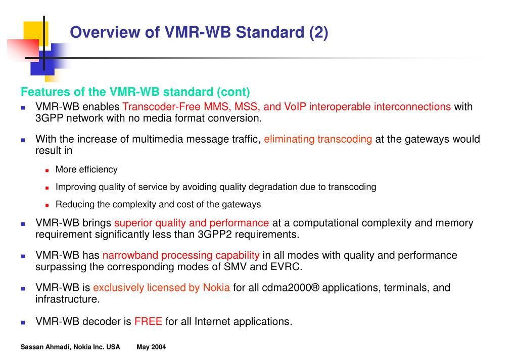 Overview of VMR-WB Standard (2)
