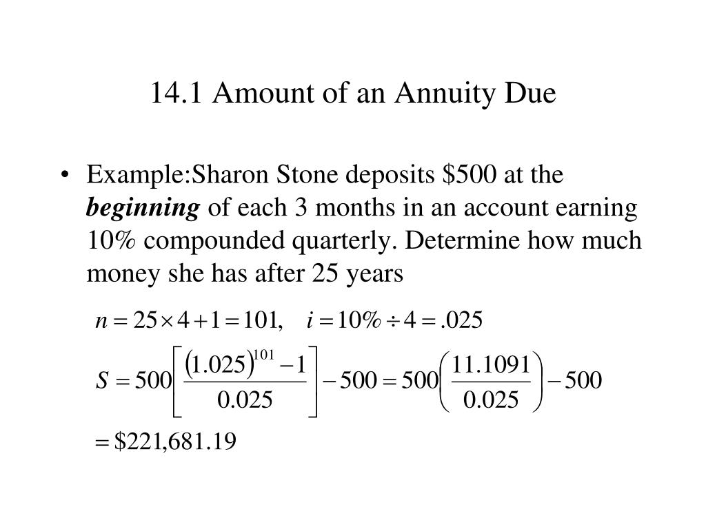 14.1 Amount of an Annuity Due