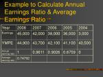 example to calculate annual earnings ratio average earnings ratio