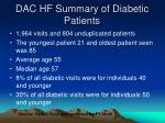 dac hf summary of diabetic patients