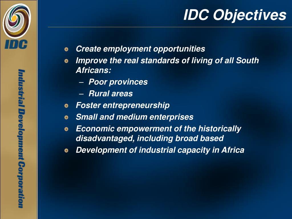 IDC Objectives