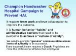 champion handwasher hospital campaign to prevent hai