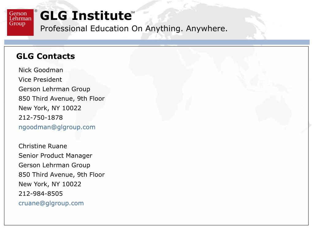 GLG Contacts