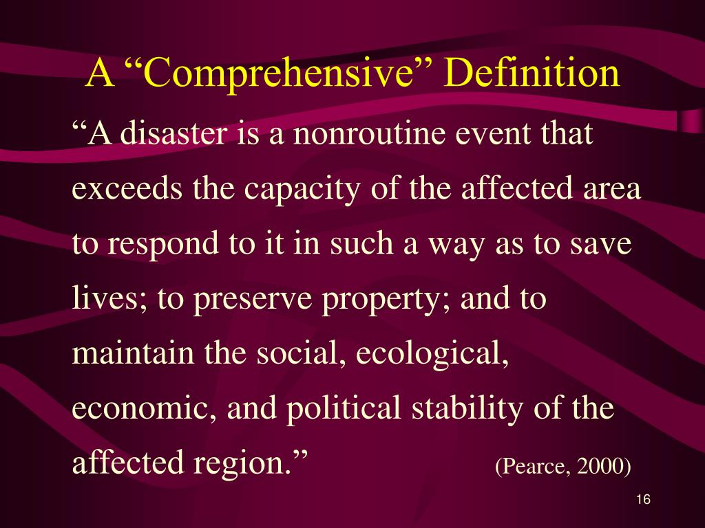 "A ""Comprehensive"" Definition"