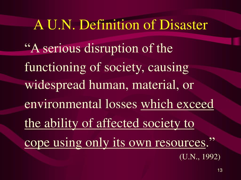 A U.N. Definition of Disaster