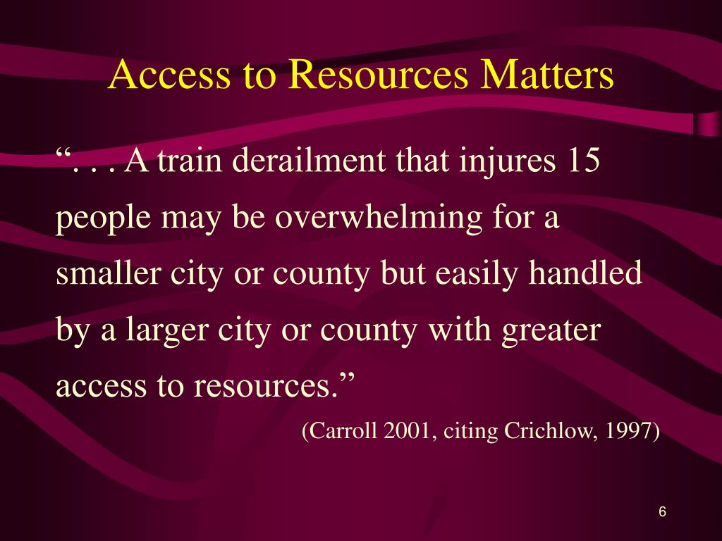 Access to Resources Matters