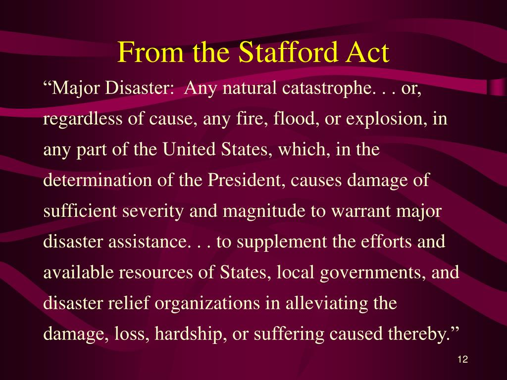 From the Stafford Act