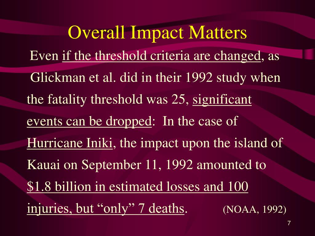 Overall Impact Matters