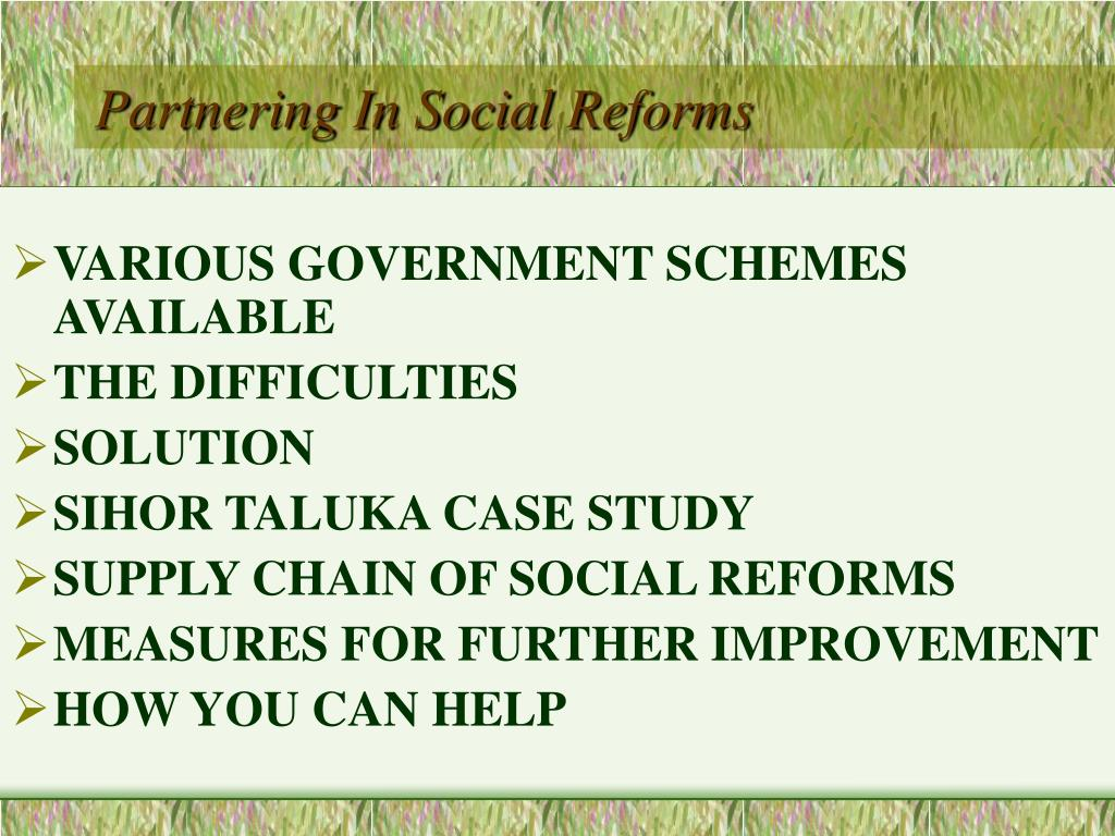 Partnering In Social Reforms