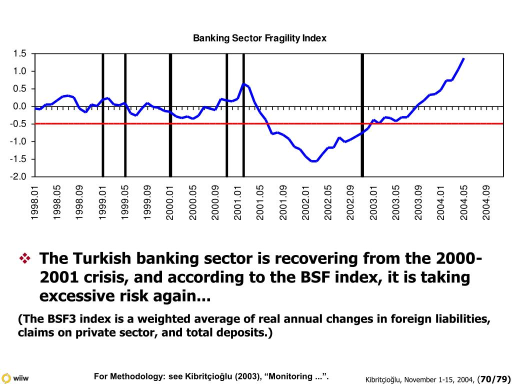 The Turkish banking sector is recovering from the 2000-2001 crisis, and according to the BSF index, it is taking excessive risk again...