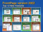 frontpage version 2002 top 12 new features