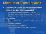 sharepoint team services
