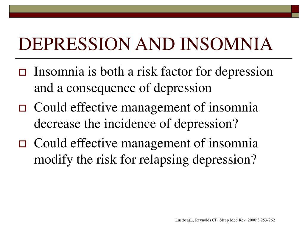 a description of insomnia and depression