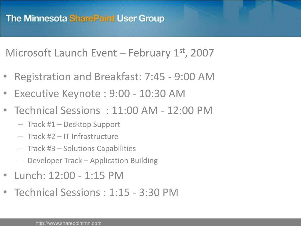 Microsoft Launch Event – February 1