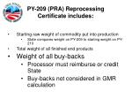 py 209 pra reprocessing certificate includes21