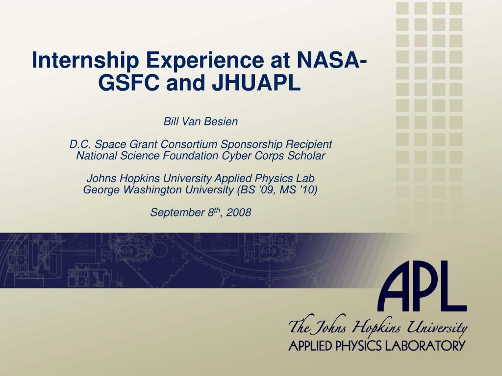 internship experience at nasa gsfc and jhuapl l.