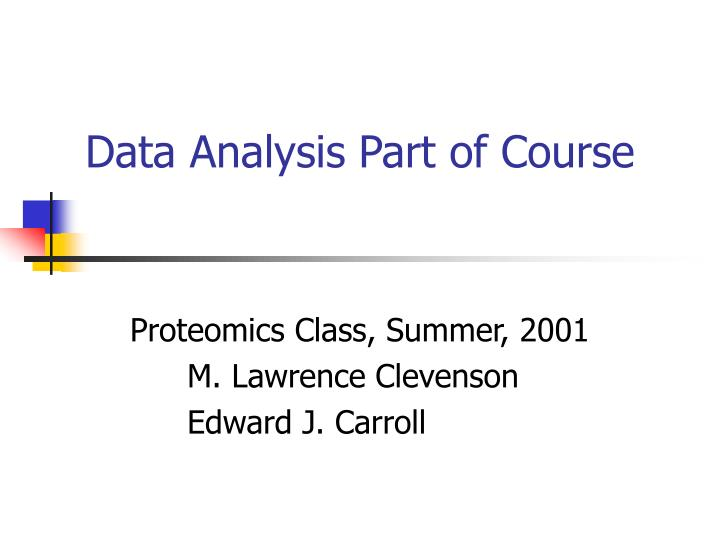 Data analysis part of course