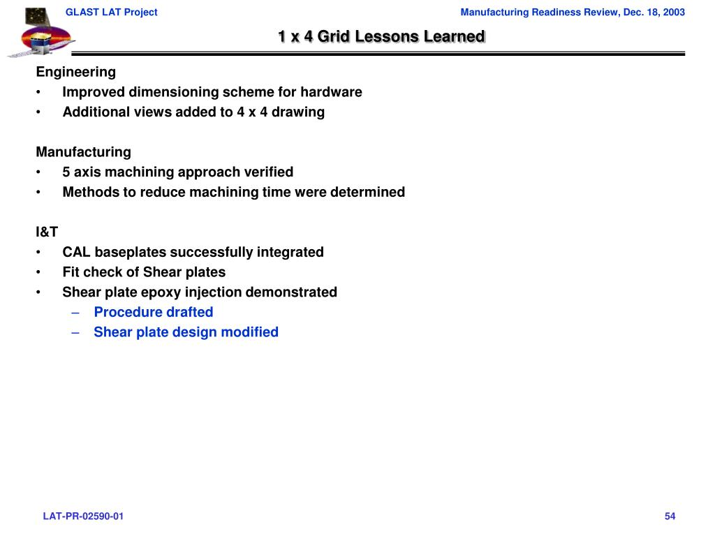 1 x 4 Grid Lessons Learned