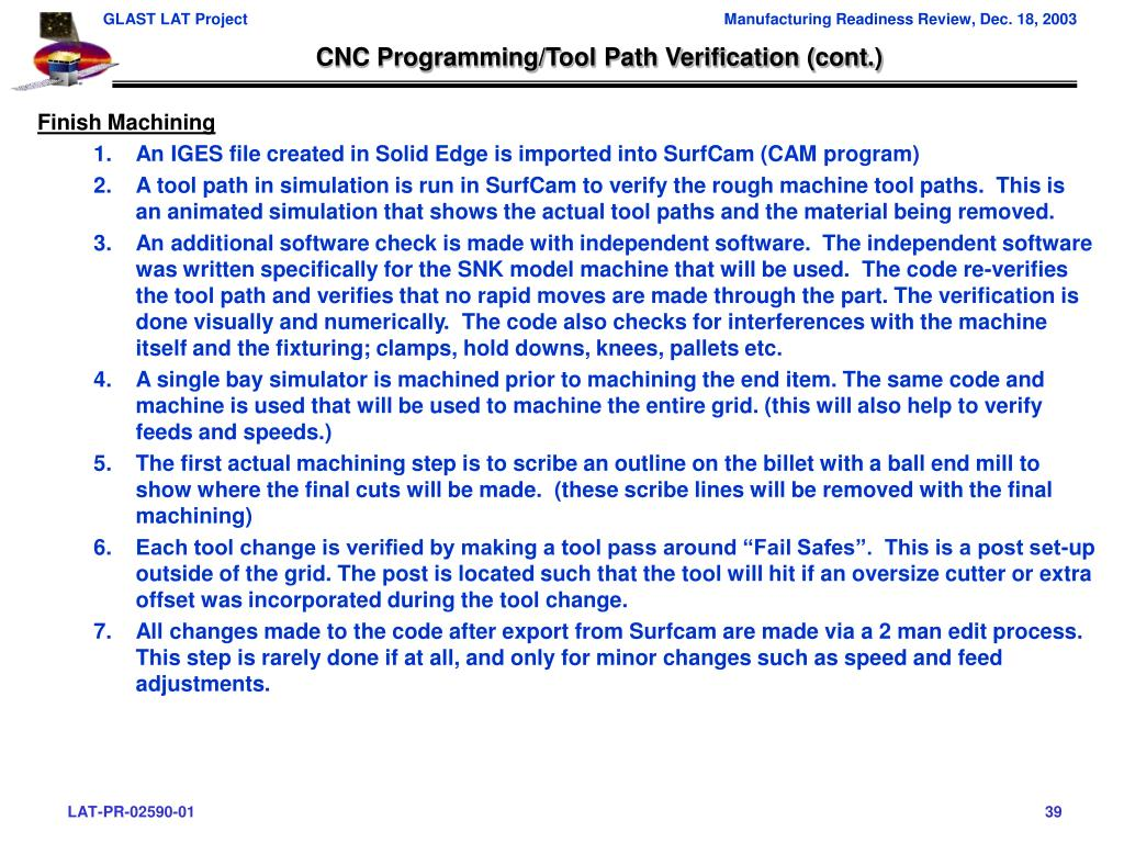 CNC Programming/Tool Path Verification (cont.)