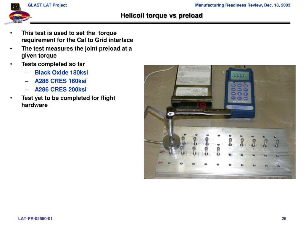 Helicoil torque vs preload