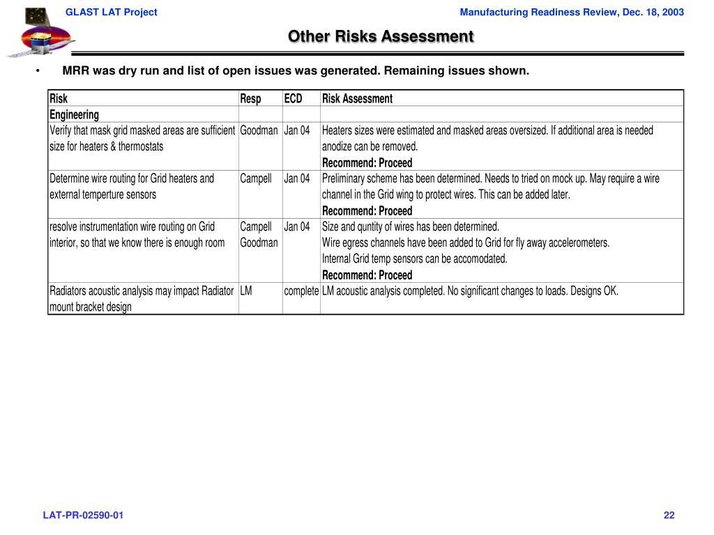Other Risks Assessment