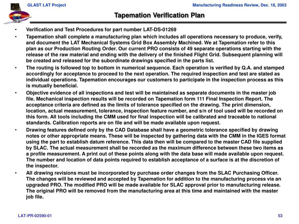 Tapemation Verification Plan