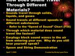 how does sound travel through different materials