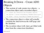 breaking it down create ado objects