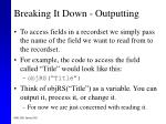 breaking it down outputting59