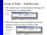 create a table add records