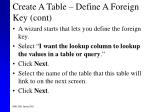 create a table define a foreign key cont