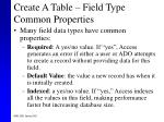 create a table field type common properties