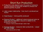 short run production