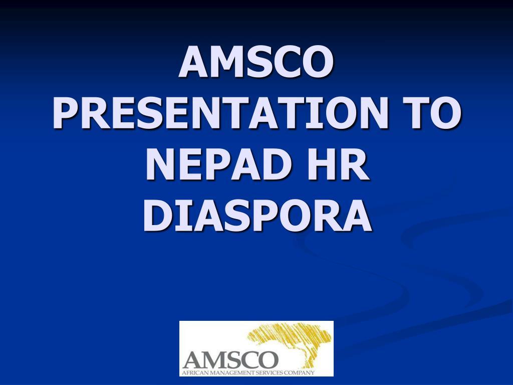 amsco presentation to nepad hr diaspora l.