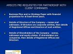 amsco s pre requisites for partnership with client companies