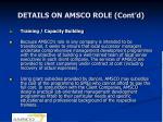 details on amsco role cont d